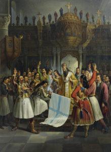 Βρυζάκης Θεόδωρος Ο Παλαιών Πατρών Γερμανός ευλογεί τη σημαία της Επανάστασης, 1865
